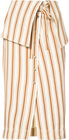 Rosie Assoulin folded waist striped skirt - women - Cotton/Linen/Flax - 0