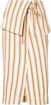 Rosie Assoulin folded waist striped skirt - women - Cotton/Linen/Flax - 4