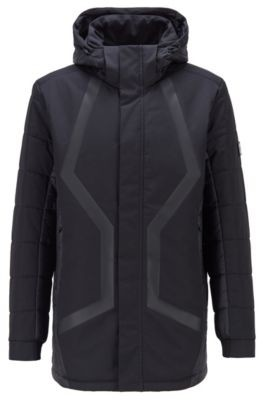 HUGO BOSS Water-repellent parka in laminated dobby fabric