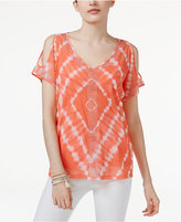 INC International Concepts Tie-Dyed Cold-Shoulder Top, Created for Macy's