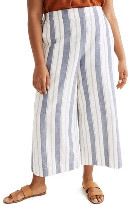 Madewell Huston Stripe Linen & Cotton Pull-On Crop Pants