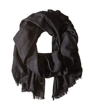 Echo Pleated Milk Made Blanket Wrap (Black) Scarves