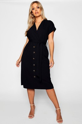 boohoo Plus Belted Button Down Midi Dress