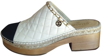 Chanel White Leather Mules & Clogs
