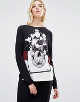 Religion Skull Long Sleeve Backless Top