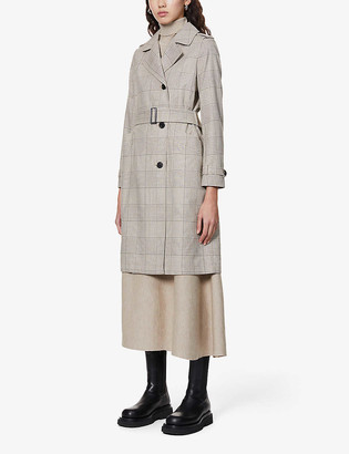 AllSaints Chiara checked woven trench coat