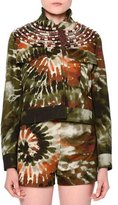 Valentino Tie-Dye Embroidered Cropped Jacket, Orange/Green