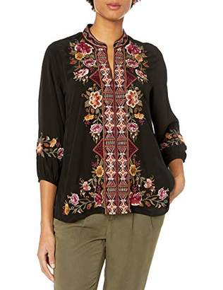 3J Workshop by Johnny Was Women's Silk Embroidered Peasant Blouse