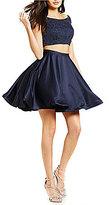 Abbi Vonn by La Femme Off-The-Shoulder Beaded Top Two-Piece Dress