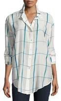 Eileen Fisher Hand-Painted Squares Organic Cotton Shirt, Medium Blue