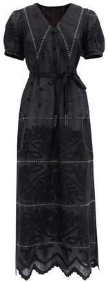 Vita Kin - Rushka Floral-embroidered Linen Midi Dress - Black