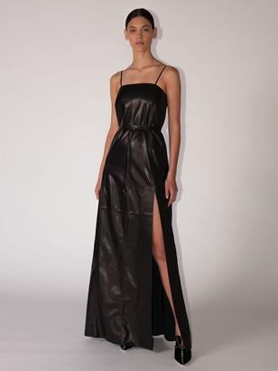 Salvatore Ferragamo Leather Midi Dress