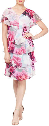 Floral-Print Short-Sleeve Tiered Dress