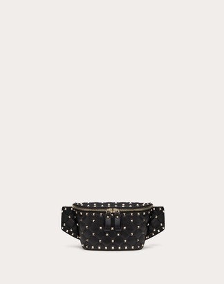 Valentino Garavani Rockstud Spike Nappa Leather Belt Bag Women Rosso Lambskin 100% 85