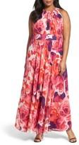 Eliza J Plus Size Women's Floral Print Halter Maxi Dress