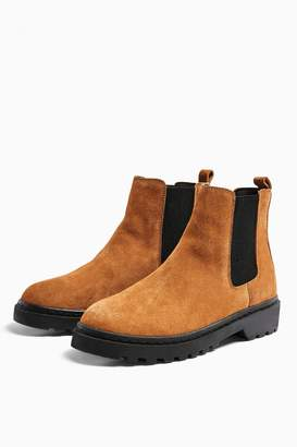 Topshop Womens Bramble Leather Chelsea Boots - Tan