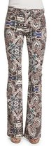 7 For All Mankind Low-Rise Paisley Flare-Leg Jeans, Capri Paisley