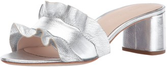 Loeffler Randall Women's Vera Ruffle Slide Sandal (Metallic Leather) Heeled