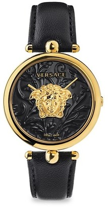Versace Palazzo Empire IP Black & Goldtone Leather Strap Watch