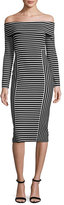 Derek Lam 10 Crosby Striped Off-the-Shoulder Midi Dress, Soft White/Black