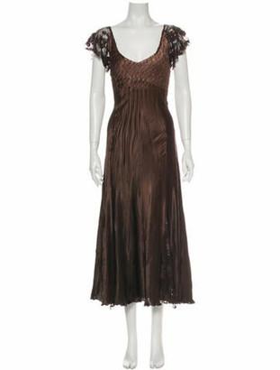 Komarov Scoop Neck Midi Length Dress Brown