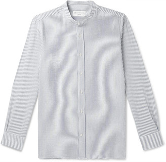Officine Generale Gaston Grandad-Collar Striped Cotton-Blend Seersucker Shirt