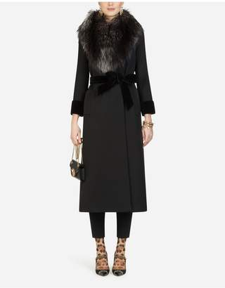 Dolce & Gabbana Long Wool Jacket With Fur Collar