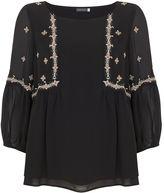 Mint Velvet Black Embroidered Swing Top