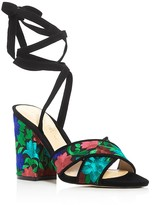 Ivanka Trump Kuriel Embroidered Ankle Tie High Heel Sandals