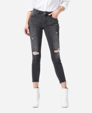 VERVET Women's Mid Rise Distressed Raw Hem Skinny Ankle Jeans