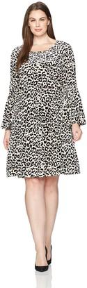 Julian Taylor Women's Plus Size Full Figure Leopard Printed Velvet Dress
