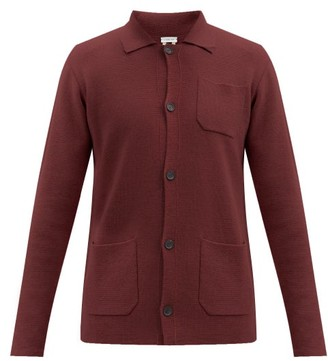 Caruso Patch-pocket Wool Cardigan - Burgundy