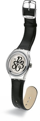 Swatch Ladies Black Gloss White Dial Black Leather Strap Watch