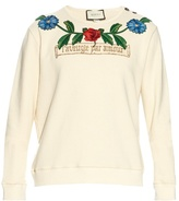Gucci Flower And Tree Embroidered Cotton Sweatshirt