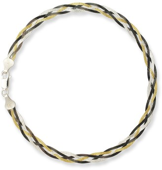 Curata Sterling Silver Black and Goldplated 10-inch Braided Anklet - Orange