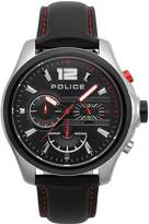 Police Police Denver Black Chronograph Dial Black Leather Strap Gents Watch