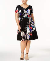 Sangria Plus Size Printed Fit & Flare Dress