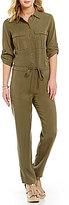 M.S.S.P. Button-Down Collar Shirt Pocket Tencel Jumpsuit