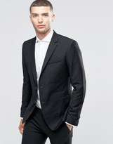Sisley Slim Fit Suit Jacket with All Over Ditsy Triangle Print