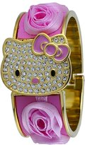 Hello Kitty #HK1738 Women's Gold Tone Pink Floral Crystal Cover Bangle Bracelet Watch