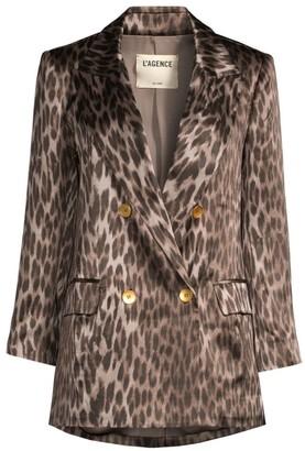 L'Agence Taryn Silk Leopard-Print Blazer