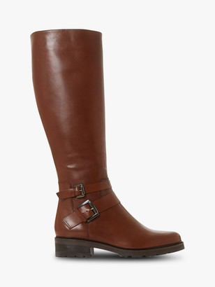 Dune Tambie Leather Buckle Knee High Boots