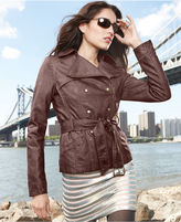 GUESS Jacket, Belted Faux-Leather Motorcycle