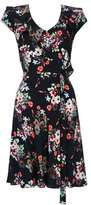 Wallis Black Daisy Print Ruffle Fit and Flare Dress