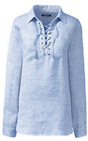 Lands' End Women's Petite Long Sleeve Lace Up Linen Shirt-Stone Thin Stripe