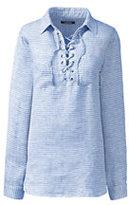 Lands' End Women's Plus Size Long Sleeve Lace Up Linen Shirt-Stone Thin Stripe