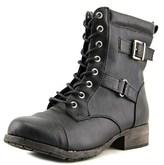 Jellypop Len Women Round Toe Synthetic Black Combat Boot.