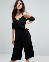 Influence Ruffle Cold Shoulder Culotte Jumpsuit