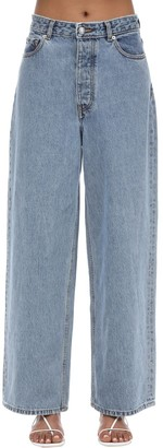 Ganni High Rise Cotton Denim Wide Leg Jeans