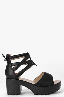 boohoo Lace Up Two Part Cleated Sandals